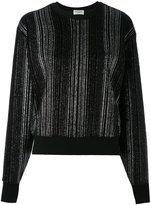 Saint Laurent metallic pleated sweater - women - Cotton/Polyester - XS