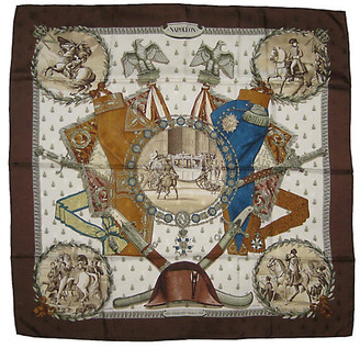 One Kings Lane Vintage Hermes Napoleon Scarf - The Emporium Ltd. - Brown/white/blue/tan/taupe/black/multi