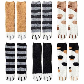 Teteai 2020 New Thick Winter Cat Claws Socks 6 Pair Cute Warm Plush Coral Fleece Sleep Floor Socks for Ladies Winter Multipack - Gifts for Thanksgiving Christmas