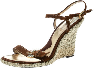 Cesare Paciotti Brown Suede Leather Ankle Strap Wedge Sandals Size 40