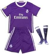 Nino top Real Madrid 2017 Soccer Jerseys Uniform Purple Ronaldo No.7 Away Kids Youth Football Shirt +Short+Socks