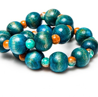 Wood & Glass Bead Bracelet Set