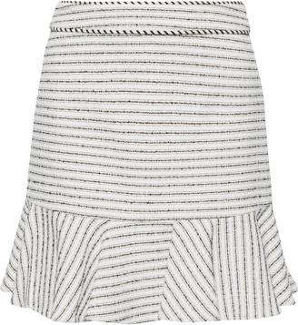 Veronica Beard Millie Ruffled Striped Cotton-blend Tweed Mini Skirt
