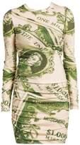 Moschino Dollar Print Wool Long-Sleeve Mini Dress