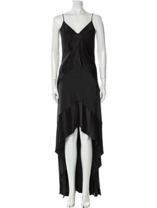 Narciso Rodriguez V-Neck Long Dress Black