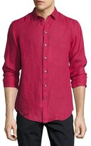 Armani Collezioni Long-Sleeve Linen Sport Shirt, Berry Red
