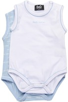 D&G Two Pack Sleeveless Printed Jersey Stretch (Infant) (Blue/White) - Apparel