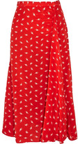 Miu Miu Printed Silk Crepe De Chine Midi Skirt - Red