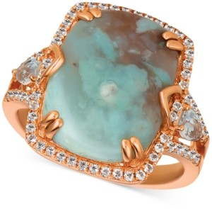 LeVian Le Vian Sky Aquaprase (16 x 12mm) & White Topaz (5/8 ct. t.w.) Ring in 14k Rose Gold, Created for Macy's