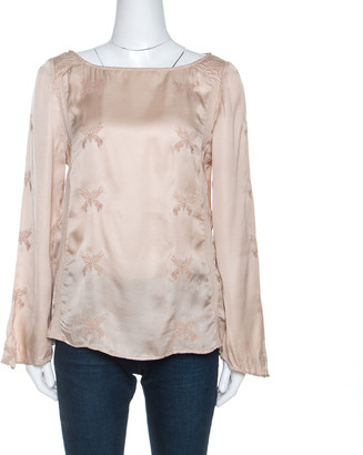Zadig And Voltaire Zadig & Voltaire Beige Embroidered Satin Lace Trim Toxanne Brod Top S