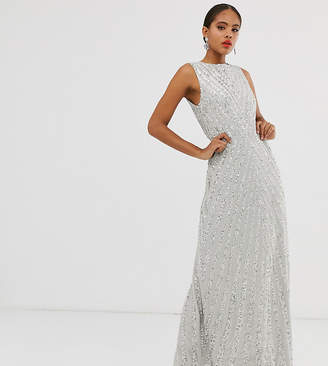 Maya Tall allover stripe embellished trophy maxi dress in soft grey