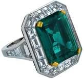 Platinum & 10.10ct Colombian Emerald & Diamond Ring Size 6.25
