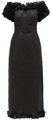 Gül Hürgel Ruffled Off-the-shoulder Linen Dress - Black