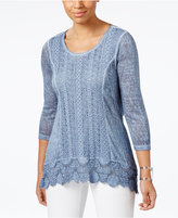 Style&Co. Style & Co Crochet-Hem Top, Only at Macy's