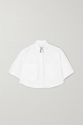 we11done Buckled Cropped Woven Shirt