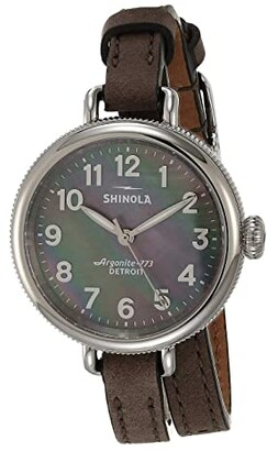 Shinola Detroit 34 mm Birdy 3H (Gray/Mother-of-Pearl Gray Leather) Watches