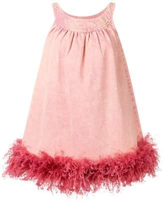 Miu Miu ostrich feather trim dress
