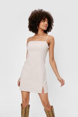 Nasty Gal Womens Linen Look Square Neck Mini Dress - Beige - 6