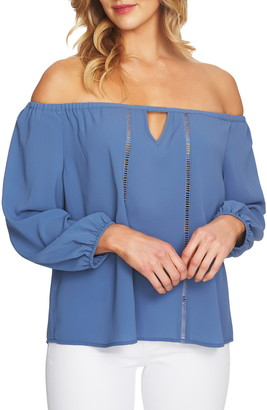 Cece By Cynthia Steffe Off the Shoulder Keyhole Blouse