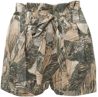 L'Agence Belted Printed Silk-satin Shorts