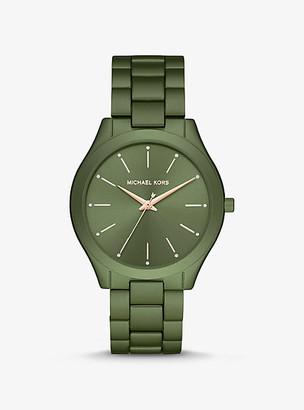 Michael Kors Oversized Slim Runway Olive-Tone Aluminum Watch