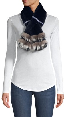 Adrienne Landau Fox-Trimmed Rabbit Fur Pull-Through Scarf