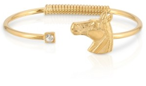 2028 14K Gold-Tone Dipped Clear Crystal and Horse Accent Hinge Bracelet