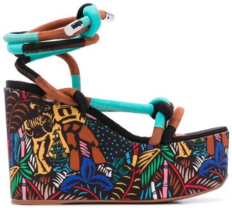 Missoni Graphic Print Wedge Heel Sandals