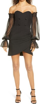 Lavish Alice Long Sheer Balloon Sleeve Blazer Cocktail Dress
