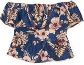 Philosophy di Lorenzo Serafini - Off-the-shoulder Ruffled Floral-jacquard Top - Blue