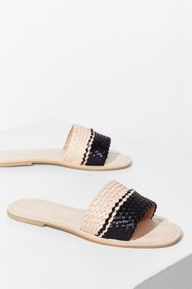 Nasty Gal Womens Woven You Long Time Leather Flat Sandals - Natural