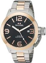 TW Steel Canteen Unisex Quartz Watch with Black Dial Analogue Display and Silver Stainless Steel Bracelet CB132