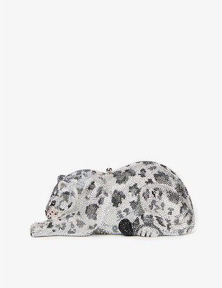 Judith Leiber Snow Leopard crystal and silver clutch bag