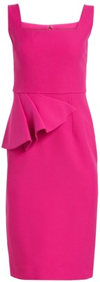 Safiyaa Asymmetrical Peplum Ruffle Sheath Dress