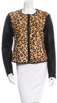 Theory Leopard Print Leather Jacket
