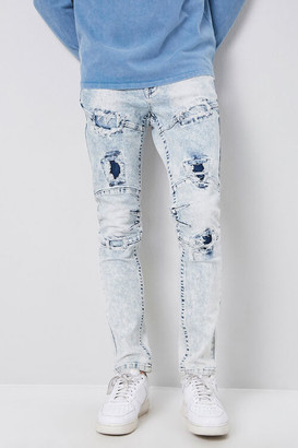 Forever 21 Distressed Panel Slim-Fit Jeans