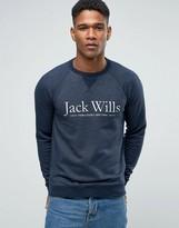 Jack Wills Sweatshirt With Print And Raglan Sleeves In Navy