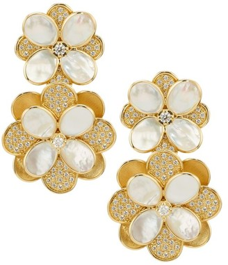 Marco Bicego Petali 18K Yellow Gold, Diamond Pave & Mother-Of-Pearl Double-Drop Flower Earrings