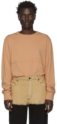 Eckhaus Latta Orange Lapped Long Sleeve T-Shirt