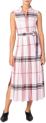 Akris Punto Plaid Pleated Sleeveless Dress