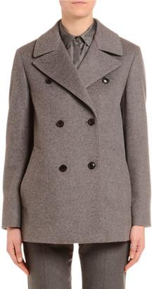 Agnona Cashmere Flannel Double-Breasted Pea Coat
