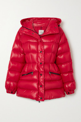 Moncler Hooded Quilted Shell Down Jacket - Red