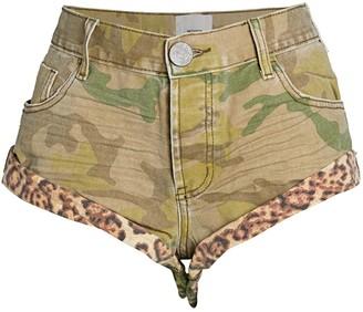 One Teaspoon Safari Bandits Camo& Leopard Denim Shorts