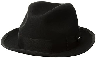 Stacy Adams Pinch Front Wool Fedora (Black) Fedora Hats