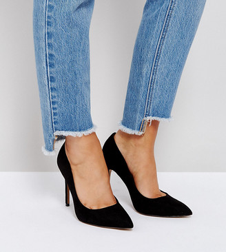 ASOS DESIGN Wide Fit Paris pointed high heeled court shoes in black