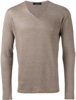 Roberto Collina V-neck jumper - men - Linen/Flax - 50
