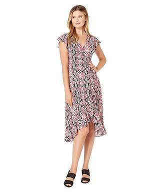 Adrianna Papell Snakeskin Printed Wrap Dress