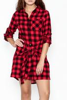En Creme Plaid Collared Dress