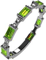 Nana Silver Stackable Ring Baguette Cut Platinum Plated - Size 7 - Simulated Peridot - Aug. Birthstone