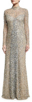 Parker Leandra Long-Sleeve Beaded Gown, Silver